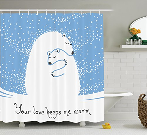 Ambesonne Animal Decor Shower Curtain Set, Mother Polar Bear Hugging Her Baby in The Snow North Winter Love Valentine's Art, Bathroom Accessories, 69W X 70L inches, Blue White by Ambesonne