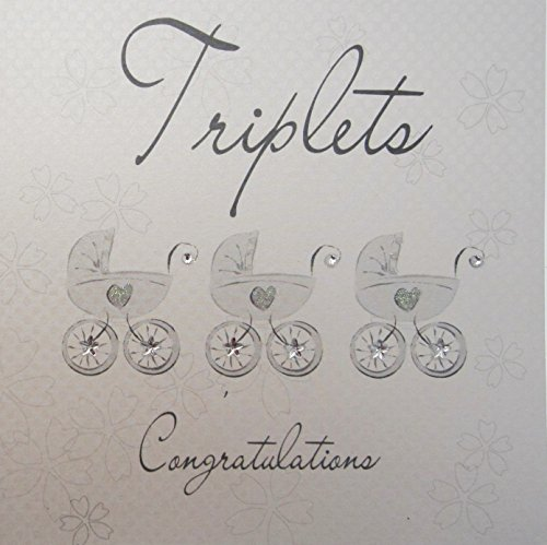 white cotton cards Triplets Congratulations Handmade New Baby Card Silver Prams
