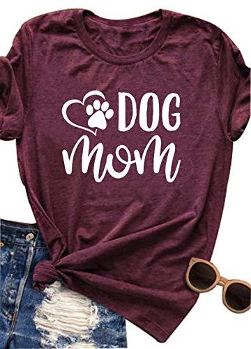 Dark T-shirt Dog Womens - Dog Mom Shirt Women Funny Dog Mama Cute Tee Letter Printed T Shirt Tops Blouse(Red,Large)