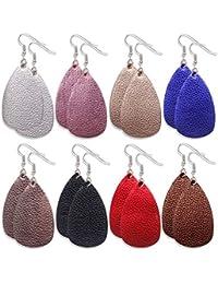8 Pairs Leather Earrings Lightweight Faux Leather Leaf Earrings Teardrop Dangle Drop Earrings for Women Girls
