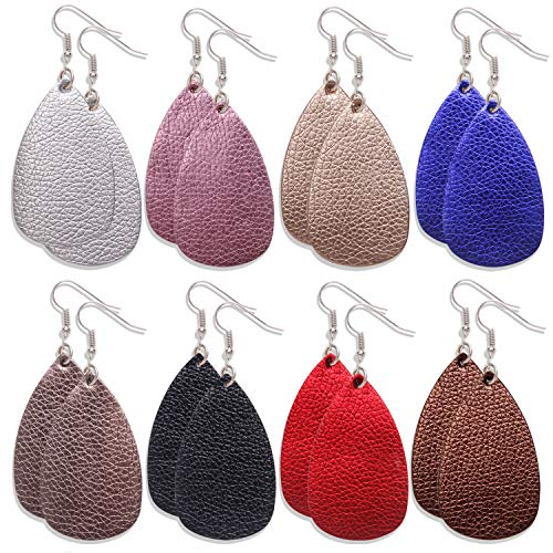 Onory 8 Pairs Leather Earrings Lightweight Faux Leather Leaf Earrings Teardrop Dangle Drop Earrings for Women Girls (A)