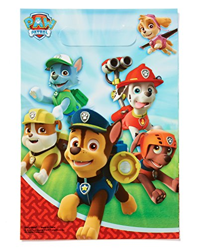 Amazing Paw Patrol Birthday Party Folded Favour Loot Bags (8 Pack), Blue/Red, (Goody Loot Bags)