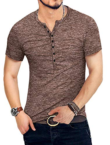 KUYIGO Mens Casual Slim Fit Basic Henley Short Sleeve T-Shirt (Small, 01 Coffee)