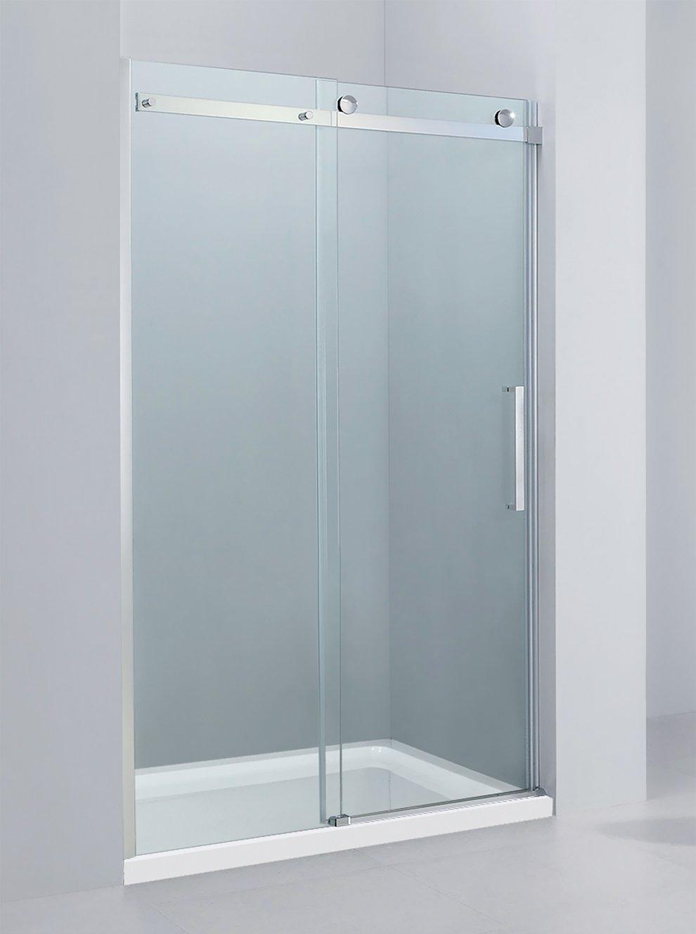 Yellowshop–Porte de douche coulissante en niche en verre trempé 8mm, transparent ou dépoli, de 100, 120, 140 ou 160cm