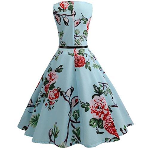 sin las de ❤️Azúl mujer bola Vestido de mangas de vestido Elegante ❤️Xinantime floral Vestido de de vintage Vestido bola mujeres Hepburn té 1xw86x