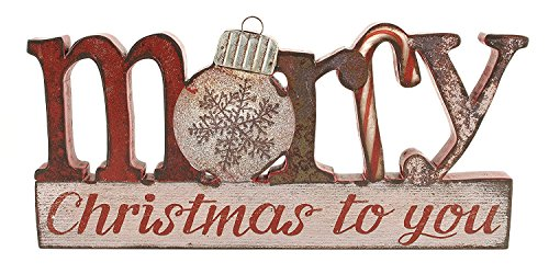 Merry Christmas Plaque - Merry Christmas to You 6 x 12.5 inch Wood and Tin Table Top Sign Plaque