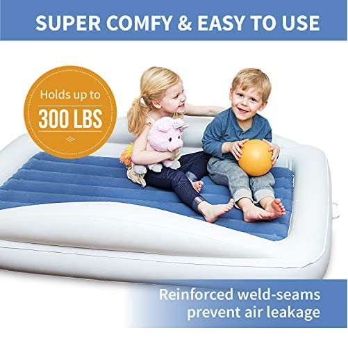 Emma + Ollie Inflatable Toddler Bed with Bed Rails - Portable Travel Blow Up Air Mattress with Safety Bumpers - Perfect for Home, Travel, Camping, Grandparents (Includes Electric Pump) 7