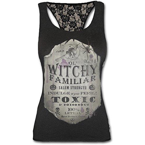 Spiral Top Witchy Familiar da donna in nero