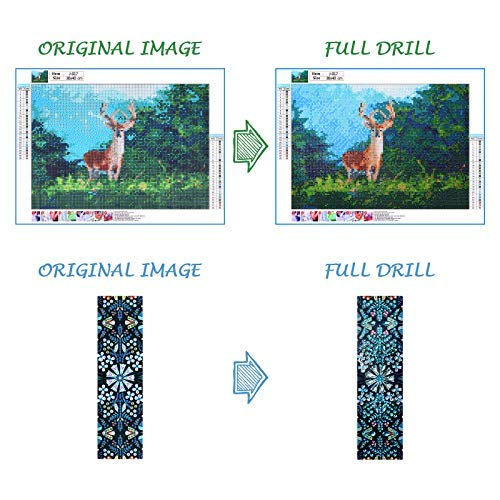 Diamond Painting, Kenting DIY 5D Diamond Painting by Number Kits, Round Full Drill Diamond Embroidery Paintings Pictures DIY Diamond Art for Adults and Kids with DIY Beaded Diamond Painting Bookmark