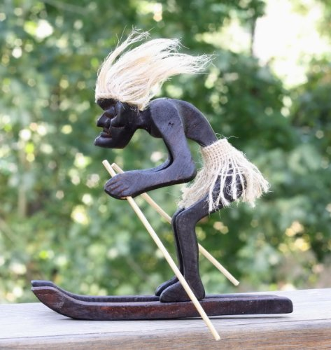 Handmade-Wooden-Primitive-Tribal-Statue-with-Skiboards-Snowboard-Tiki-Bar-Handcrafted-Home-Decor-Snowblades-Gift