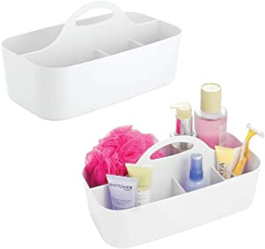 mDesign Plastic Portable Storage Organizer Caddy Tote - Divided Basket Bin with Handle for Bathroom, Dorm Room - Holds Hand Soap, Body Wash, Shampoo, Conditioner, Lotion - Large, 2 Pack - White
