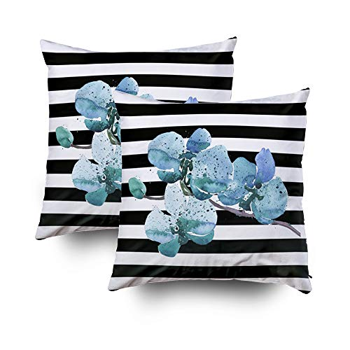Capsceoll 2PCS Blue Black White Stripe Orchid Flower Decorative Throw Pillow Case 16X16Inch,Home Decoration Pillowcase Zippered Pillow Covers Cushion Cover with Words for Book Lover Worm Sofa (White Stripes Blue Orchid)