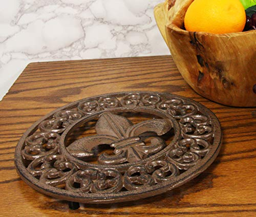 Ebros Gift 10 Diameter Round Fleur De Lis Medallion with Lace Border Design Cast Iron Metal Trivet Circle Southern Western Rustic Country Vintage Decorative Accent for Wall Or Table Furniture