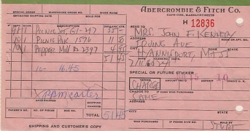 jacqueline kennedy onassis signed abercrombie fitch sales receipt