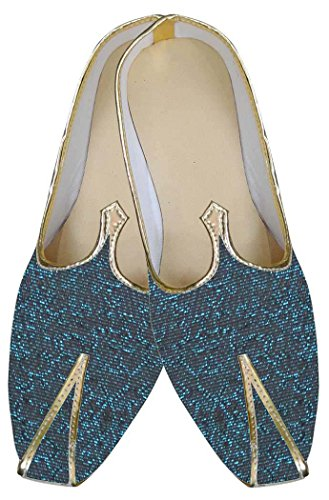 Indian Design Mj0181 Mens Black Inmonarch Wedding Shoes Teal qwE6xFRx
