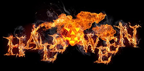 Wallmonkeys WM363119 Halloween Burning Text on Black Background Peel and Stick Wall Decals (30 in W x 15 in H)