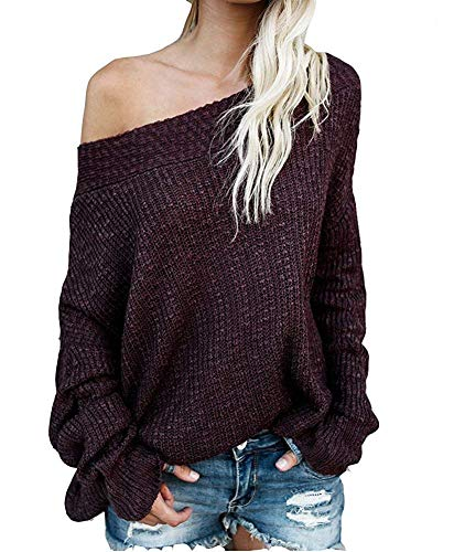GOLDSTITCH Women's Off Shoulder Batwing Sleeve Loose Oversized Pullover Sweater Knit Jumper Wine Red ()