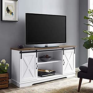 "Walker Edison WE Furniture AZ58SBDSW TV Stand 58"" White/Rustic Oak, White/Reclaimed Barnwood"