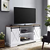 WE Furniture AZ58SBDSW TV Stand, 58', White/Rustic Oak