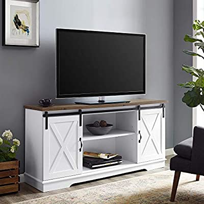 """Walker Edison WE Furniture TV Stand 58"""" White/Rustic Oak, White/Reclaimed Barnwood - Dimensions: 28"""" H x 58"""" L x 16"""" W Cable management features to run cords in the back of the TV stand Made from high-grade certified MDF for long-lasting construction - tv-stands, living-room-furniture, living-room - 51VnUgjSk4L. SS400  -"""