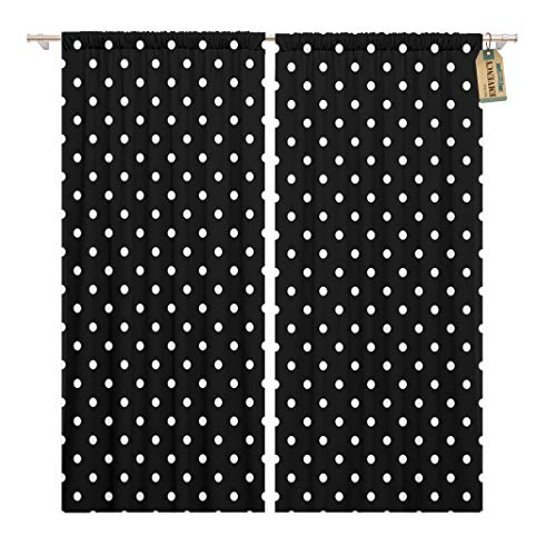 Golee Window Curtain Colorful Small Black and White Polka Dot Pattern Abstract Home Decor Rod Pocket Drapes 2 Panels Curtain 104 x 63 inches - Dot Rod Polka