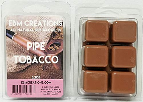 Pipe Tobacco - Scented All Natural Soy Wax Melts - 6 Cube Clamshell 3.2oz Highly Scented!