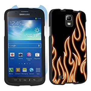 Samsung Galaxy S4 Active SGH-i537 (AT&T) Black Case + Screen Protector - Orange Neon Flames By SkinGuardz
