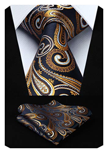 HISDERN Extra Long Floral Paisley Tie Handkerchief Men's Necktie & Pocket Square Set ,Navy Blue & Gold,XL, 63 inches length