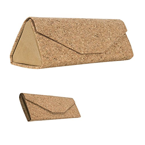 Cork Eyeglass Case – Eco-Friendly Sunglasses Case– Superior Alternative to Leather Glasses Case & Plastic Hard Eyeglasses Cases –Foldable Design with Magnetic Flap for Men and Women, By OptiPlix (Cork Sunglasses)
