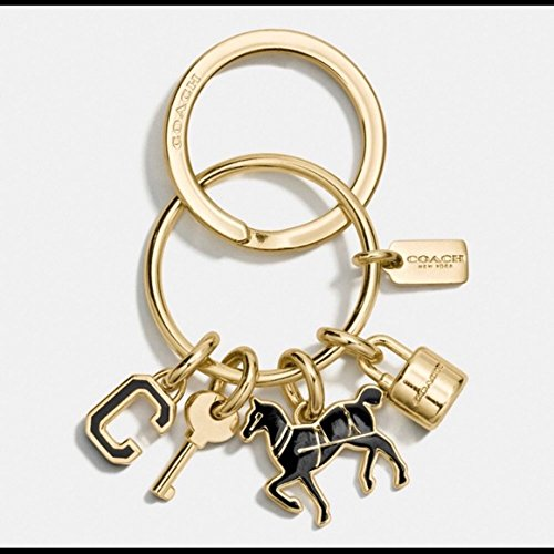Coach Logo Key Horse Padlock Gold Black Key Fob Purse Charm (Logo Gold Charm)