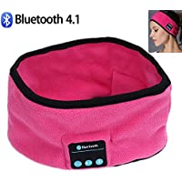 JIAEN Wireless Bluetooth Headset Best Noise Cancelling Running Headphones with Mic Built-in Stereo Speakers Headband Yoga Sports Headband Sleep Headphones (Pink)