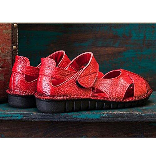 Vogstyle Mujeres Sandalias Zapatos Casuales Para Caminar Cabeza de Pescado Zapatos Clásicos Sandalias Talón Abierto Velcro Romanos Rojo