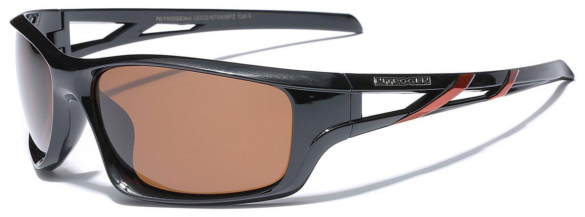 Polarized Oversized Sport Wrap Around Sunglasses - Black & Orange
