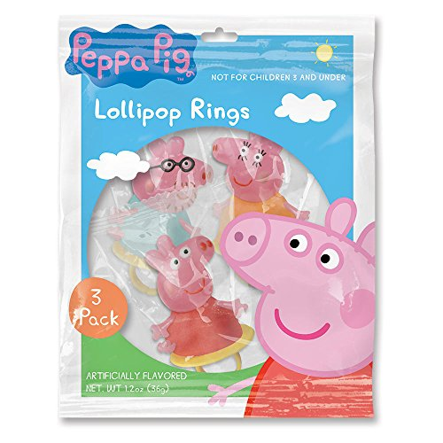 Peppa Pig Character Shaped Ring Pop Lollipops, 1.5 oz, 3 Pac