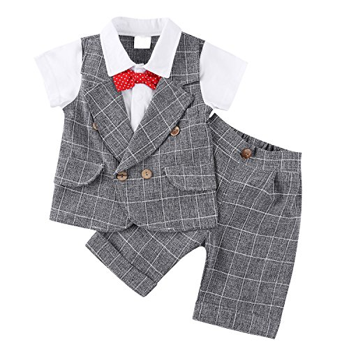 [Baby Boy Gentleman Short Sleeve Clothing Set Toddler Outfit with Plaid Tops Pants Bowtie] (Pageant Suits)
