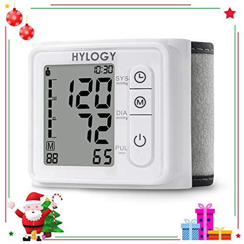 Wrist Blood Pressure Monitor HYLOGY Blood Pressure Cuff Fully Automatic Blood Pressure Machine, Accurate & Fast Reading with 2 * 120 Memory Storage
