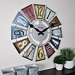 FirsTime & Co. 99681 FirsTime Numeral Windmill Wall Clock, 24, Multicolor