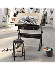 SogesPower SogesPower Height Adjustable Drafting/Draft/Drawing Table Desk,Artist Desk Tilted Tabletop Sketching Work Station with 2 Storage Drawers and 1 Stool for Home Office,SPCZKLD-026