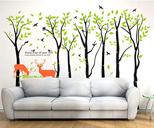Mix Decor Tree Wall Decal - 7 Trees Wall Sticker Large Family Forest for Livingroom Kid Baby Nursery Room Deer Wooland Decoration Party Birthday Gift,118x83 Inch Black + Green by Mix Decor (Image #1)