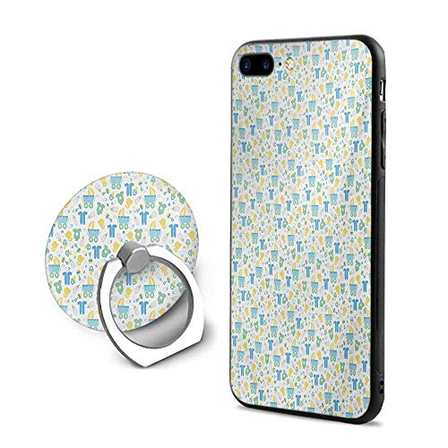 Baby iPhone 7 Plus/iPhone 8 Plus Cases,Retro Newborn Items Stroller Rubber Duck Milk Bottle Pin Pyjamas Pattern Blue Yellow Mint Green,Mobile Phone Shell Ring ()