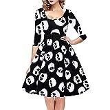 VENFLON® Vestido de moda de las mujeres Vestido de la cabeza del cráneo Vestido de manga larga Swing (0013) (M)