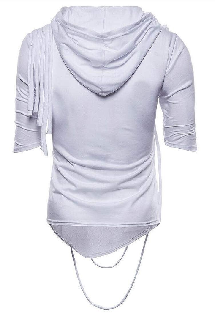 heymoney Mens Short Sleeve Hooded Hip Hop Solid Pile Collar T-Shirt
