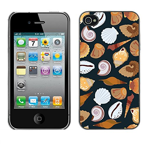 Premio Sottile Slim Cassa Custodia Case Cover Shell // V00002031 motif de coquillages // Apple iPhone 4 4S 4G