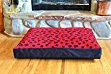 100% Waterproof FLEECE DIY Design-It-Yourself Dog Bed Cover; Washable, Hypoallergenic, Made in USA (Red Paws w Black, Medium/Large; 36 x 30 x 4)