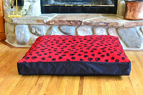 100% Waterproof FLEECE DIY Design-It-Yourself Dog Bed Cover; Washable, Hypoallergenic, Made in USA (Red Paws w Black, Medium/Large; 36 x 30 x 4) by TETON DOG