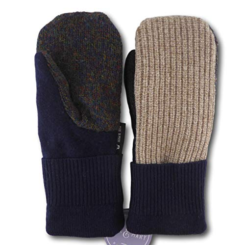 Jack & Mary Designs Handmade Mens Fleece-Lined Wool Mittens, Made from Recycled Sweaters in the USA (Black/Tan, OneSize)