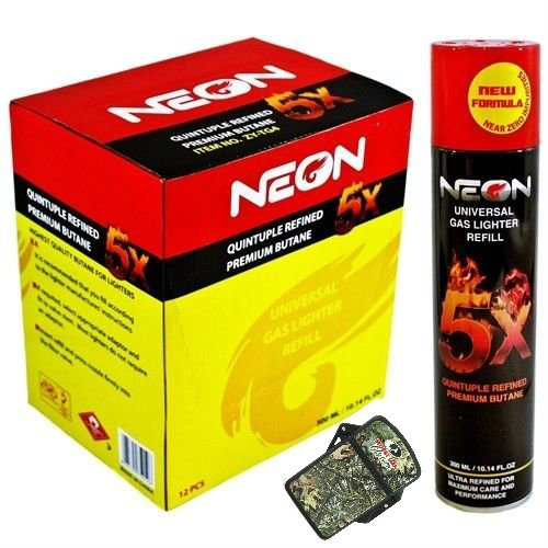 Neon 5x Ultra Refined Butane Fuel Lighter Refill Gas+FREE Eagle torch lighter (4pack) (Lighter Refill Butane Torch)