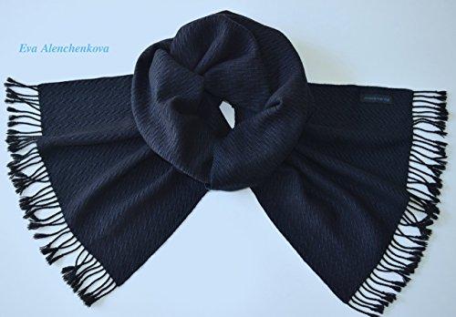 Men's Cashmere Silk Black Blue Hand Woven Scarf by Eva Alenchenkova