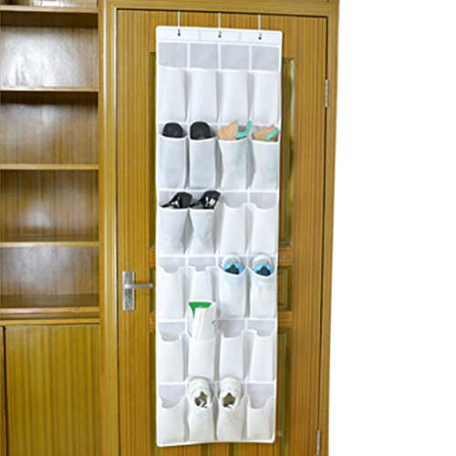 BXT 24-Pocket Non-Woven Fabric Over The Door/Wall/Closet Multilayer Shoes Hanging Storage Organizer Multifunctional Room Bedroom Bath Tidy Rack Space Saver Collection Gift