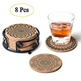 Natural Cork Coasters with Metal Holder-set of 8-4'' x 4'' -1/5'' Thick Absorbent Heat-Resistant - Round Edges Best for for Cold Drinks, Wine Glasses, Cups & Mugs